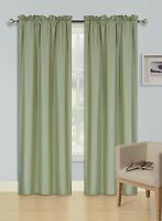 2 PANELS ROD POCKET FOAM LINED THERMAL BLACKOUT WINDOW CURTAIN DRAPE R64 SAGE