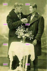 POSTCARD Print / 1920's male couple in long coats
