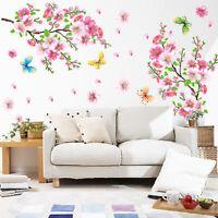 Room Peach Blossom Flower Butterfly Birds Wall Stickers Art Decals Decor Mural.~