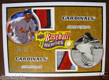 STAN MUSIAL ALBERT PUJOLS 2008 UPPER DECK 6/10 BASEBAL HEROES DUAL PATCH 1/1
