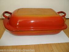 18057 Emaille Kasserolle orange enamel pan casserol  Bräter gut Felsenemaille