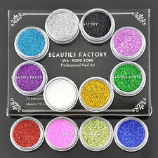 12 Colors Sparkling Nail Art Fine Glitter Powder Dust Set Decals Deco Gel Tip 11