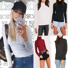 Womens Ladies  Long Sleeved Ribbed Polo Neck Top T-shirt Warm Thin Knit Top