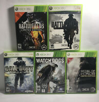 Xbox 360 Lot of 5 Action Shooter Games Battlefield COD Watchdogs Medal of Honor