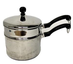 Vintage Farberware Stainless Steel Double Boiler 2 QT Aluminum Clad Saucepan Lid