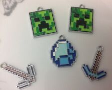 """""Set of 5 x MINECRAFT Silver Tone Metal Enamel Charms Pendants (V2)"""""
