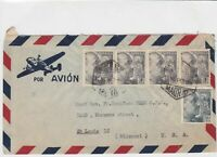 spain  1953 airmail stamps cover ref 19330