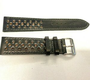Fluco Shell Cordovan Genuine Horween Rally Leather watchstrap Black 20mm
