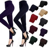 Women Thick Warm Leggings Velvet Skin Winter Thin Slim Pants Footless Solid NEW