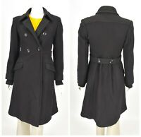 Womens Max Mara Studio Double Breasted Coat Black Wool Italy Size IT42 / UK10