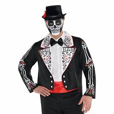 Day of the Dead Mens Tailcoat Plus Size Halloween Costume Fancy Dress