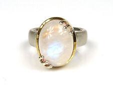 silberner Design-Ring - mit schönem Mondstein - 925er Sterling Silber mattiert