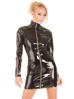 Women's Black PVC Wetlook Mini Dress Zipper Bodycon Jumpsuit Bodysuit Clubwear