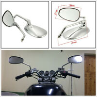 2pcs Motorcycle 10mm Thread Oval Side Mirrors Rear View Mirrors Adjustable Angle