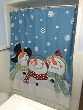 Frosty The Happy Snowman Winter Snow Fabric Shower Curtain Bathroom Decor