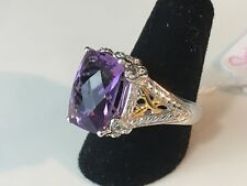 Victoria Wieck Sterling Silver & Gold Amethyst & White Topaz Butterfly Ring