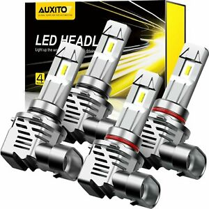 4X AUXITO 9005 9006 LED Headlight Kit Bulbs Hi Low Beam White Lamp High Power XD