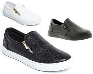 Womens or Girls Slip On Trainers Side Zip Skater Shoes Crocodile Pumps Plimsolls