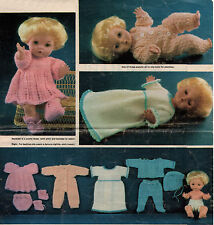 "KNITTING PATTERN TO MAKE 12"" VINTAGE DOLLS CLOTHES 9 ITEMS TO KNIT Double Knit"