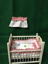 Dollhouse Miniature Baby Crib quilt set/Curtain 1:12 scale Dollhouse Hand Made