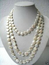 Long Necklace 33'' Aaa+ Genuine 11-13mm White Coin Pearl