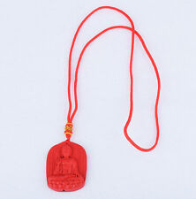 Organic Red Cinnabar Goddess of Mercy Statue Necklace Pendant Luck Amulet Gift