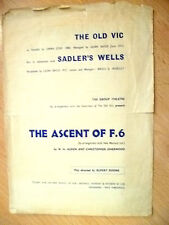 Old VIC, Sadler's Wells Programme- THE ASCENT OF F. 6 by W.H. Auden/C Isherwood