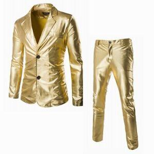 Men's Lapel Shiny Suit Pants 2Pcs Fashion Slim Fit Blazers Nightclub Two Buttons