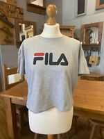 Ladies Fila Grey T-Shirt Crop Top UK S