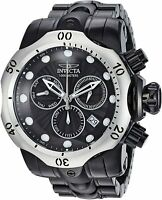 23897 Invicta Men's 52mm Venom Qrtz Chrono Silver Bezel Black SS Bracelet Watch