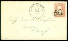 "EDW1949SELL : USA 1861 Sc #65 double struck ""PAID"" South Berwick ME to Quincy MA"