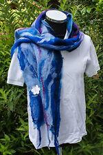 NEU XL Schal Stola Nunofilz Handarbeit Merino Wolle auf Seide blau 2, 170 cm