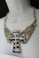 Women Silver Metal Rocker Fashion Necklace Black White Cross Angle Eagle Wings
