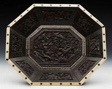Antique Colonial anglo-indien sculpté et marqueté plat en bois 19TH C.