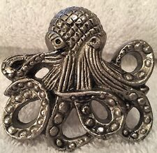 "NEW set 6 OCTOPUS NAUTICAL SILVER EMBOSSED KNOBS HANDLE PULL  2 1/2""XXL HARDWARE"