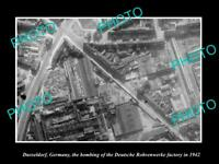 OLD POSTCARD SIZE PHOTO DUSSELDORF GERMANY, AERIAL VIEW OF BOMBED FACTORY 1942