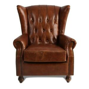 MARQUESSLIFE 100%GENUNIE LEATHER HANDMADE TUFTED HIGH WING BACK SOFA ARMCHAIR