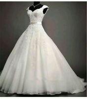 2019 New White /Ivory Lace Wedding Dress Bridal Ball Gown Custom UK Size 6-30