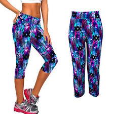 Snazzys multi Graph womens Teens kids Funky crop gym Yoga hippie cool fun pants