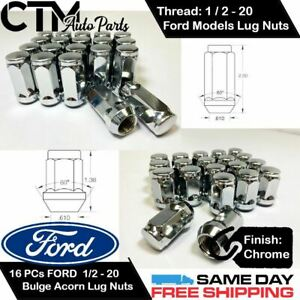 16PC FORD CHROME CONICAL SEAT 1/2-20 WHEEL LUG NUTS BULGE ACORN FOR FORD MODELS