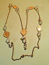 FROSTED Acrylic Beaded Necklace in Gold Tone