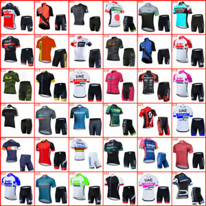 Team Mens Cycling Jersey Set Short Sleeve Bike Clothing Summer Bicycle Outfits