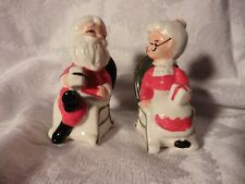 Vintage Santa & Mrs Claus Rocking Chairs Salt & Pepper Shakers Holding Gifts