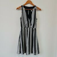 H&M Black White Striped A-Line Dress Size US 4 Sleeveless Knee Length