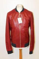 BNWT DOLCE & GABBANA Men's Red Leather GBBT4L Zip Bomber Jacket UK42 EU52