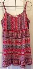 new $39 Beach Swim Cover up Red Pink  Casual Dress Adjustable Straps M heda