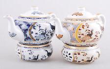 BLUE Porcelain teapot set with warmer stand base Tea 1L Peacock Ceramic Fine