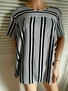 F&F Black & Cream Off White Striped  Short Sleeve Open Back Top Size 20