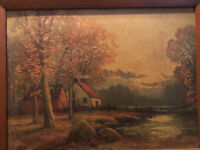 Autumn Sunset By Robert Wood Vintage Framed Art Print Reproduction