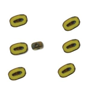 Table Cut Czech Glass Beads 10x6mm or 26x15mm indented Oval Picasso Travertine